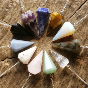pendulum,point,polished,opalite,tigers eye,amethyst,aventurine,tourmaline,lapis lazuli,crystal