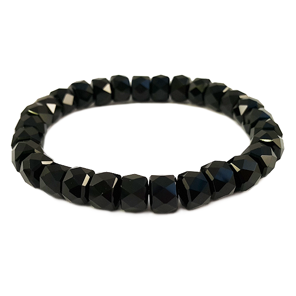 black,agate,bracelet,faceted,gemstone