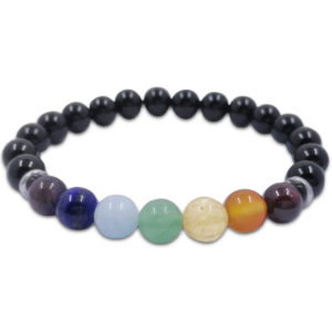 chakra,balance,7 colour,black,agate,bracelet,gemstone,beads