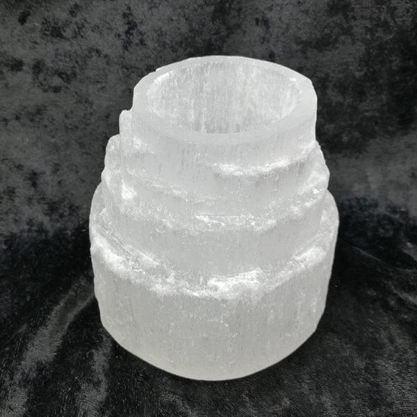 selenite,white,candle holder,tee light,moon