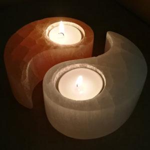 selenite,orange,white,tee light,candle holder,yin yang