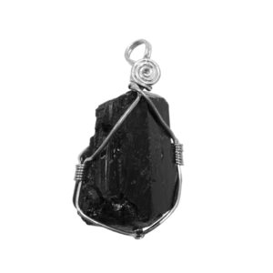 tourmaline,black,wire wrapped,pendant-protection,rough,natural