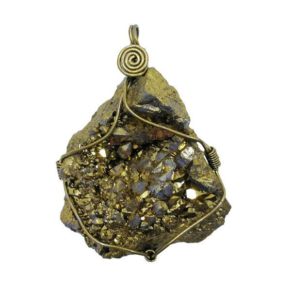 aura,geode,pendant,gold
