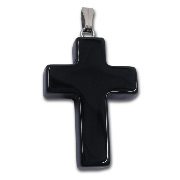 cross,pendant,black,obsidian